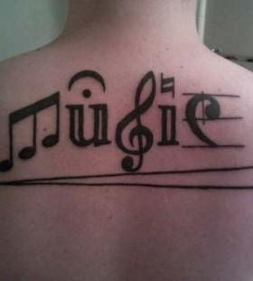 Adorable music back music style tattoo