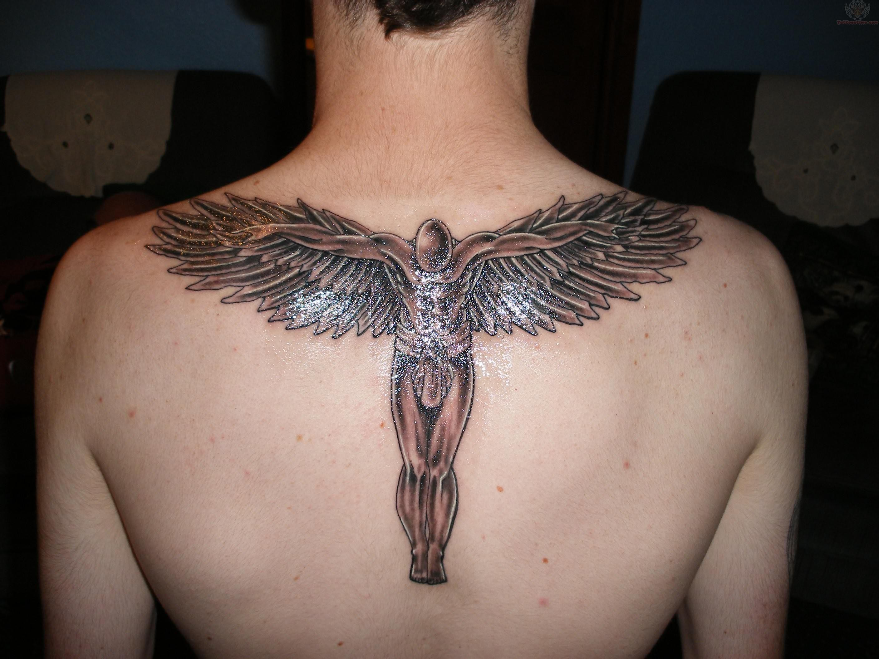 Tattoo Ideas On Back: Angle-brown-mens-back-tattoo.jpg