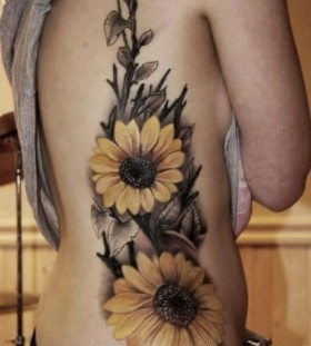 Black adorable sunflower tattoo