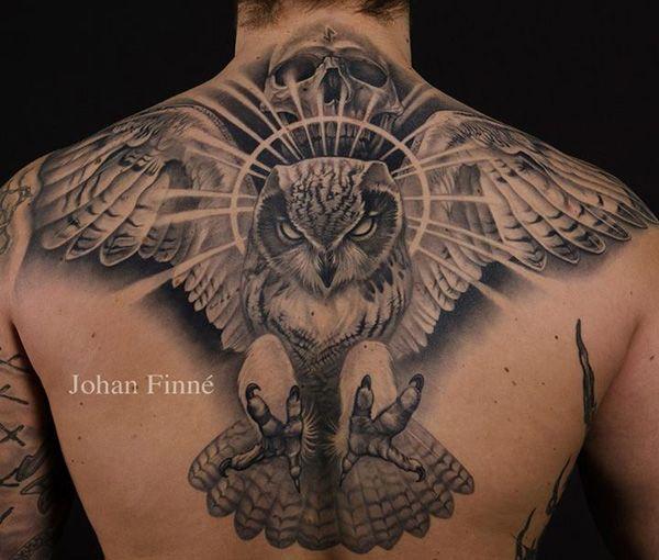 Black owl men's back tattoo - TattooMagz