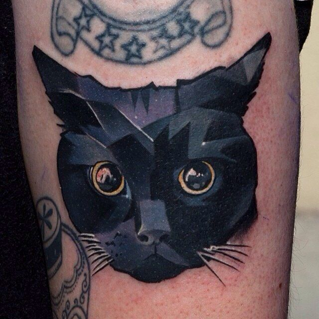 deep black eyes cat tattoo. Black Bedroom Furniture Sets. Home Design Ideas