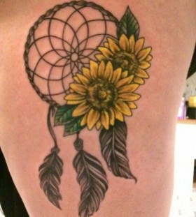 Dreamcatcher and lovely sunflower tattoo