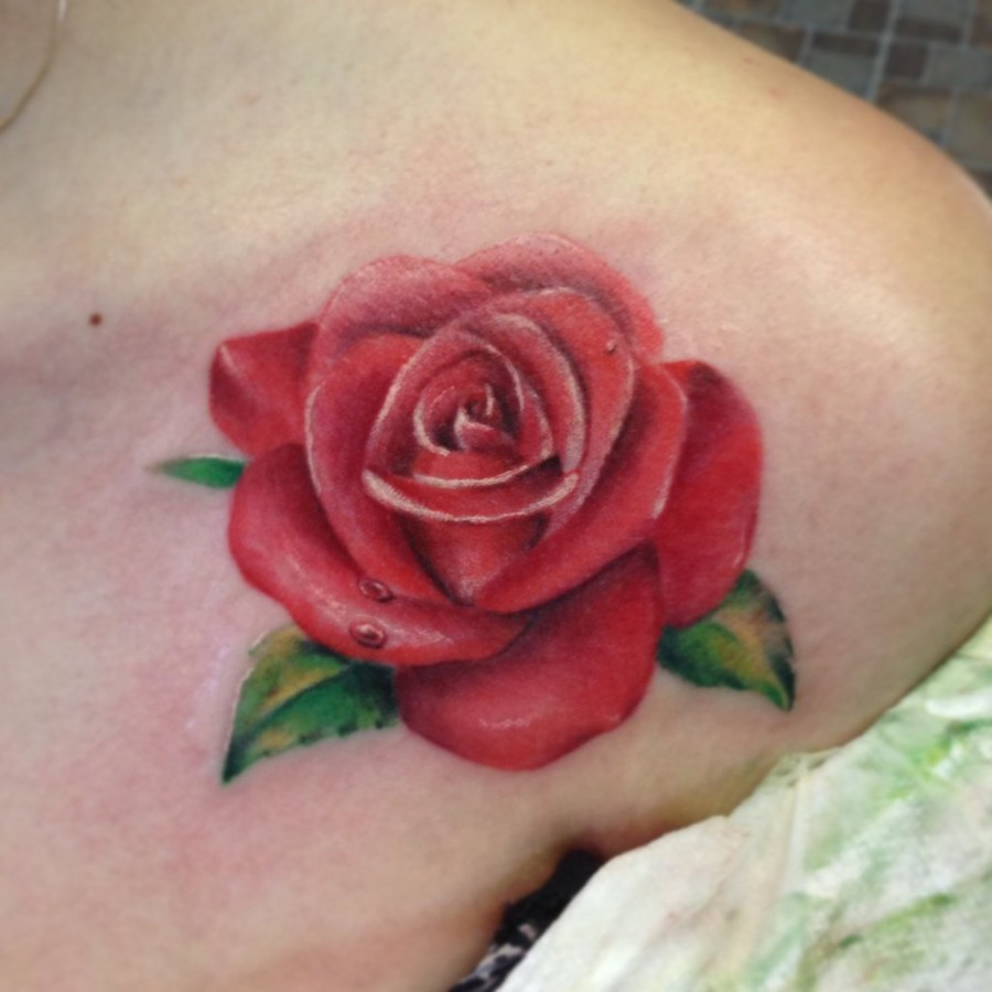 Droplets and water pink rose tattoo - TattooMagz