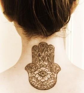 Finger and eye hamsa tattoo