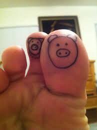 Foot fingers pig tattoo