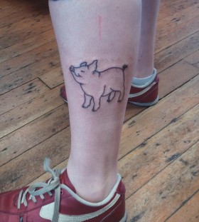 Gorgeous looking pig tattoo