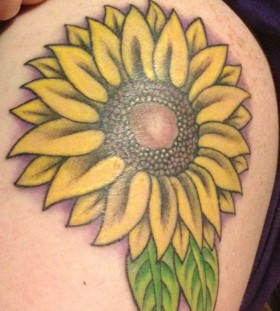 Green leafs and sunflower tattoo