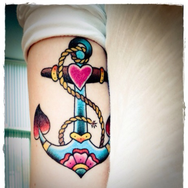 Heart and anchor american traditional tattoo tattoomagz for American anchor tattoo