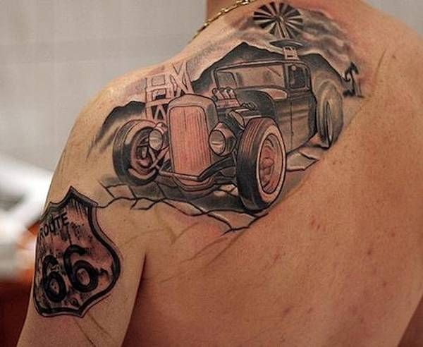 Hot rod black car tattoo tattoomagz for Hot rod tattoos