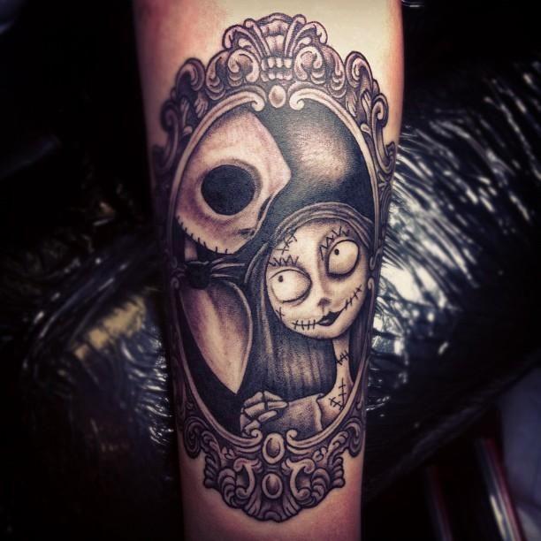 Jack and Sally halloween tattoo - TattooMagz