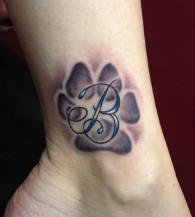 Letter B dog tattoo