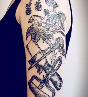 Linework bird tattoo by Lisa Orth