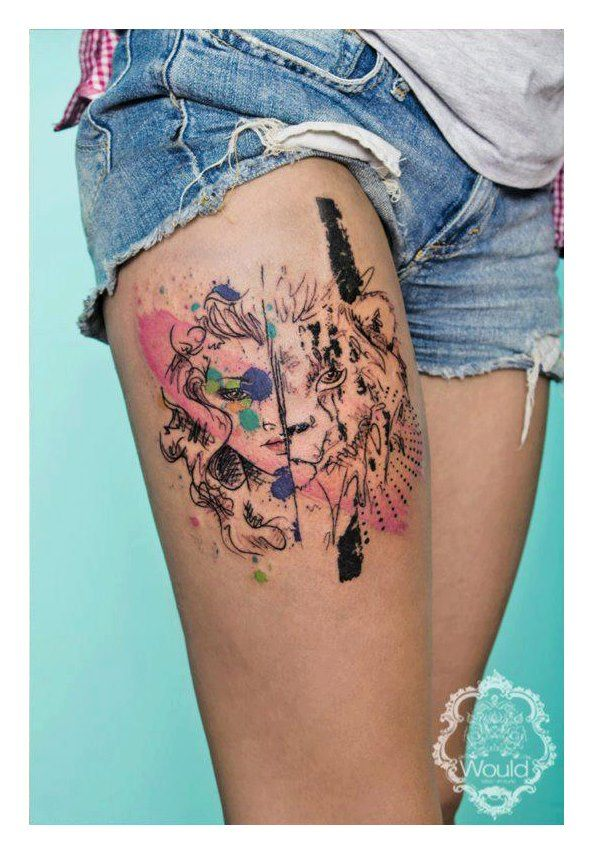 Lion And Women Face Tattoo By Candelaria Carballo Tattoomagz