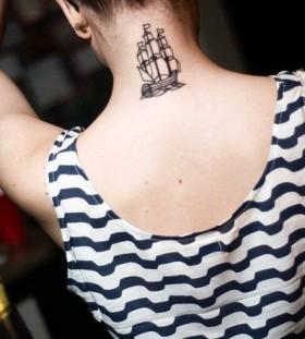 Lovely back ship tattoo