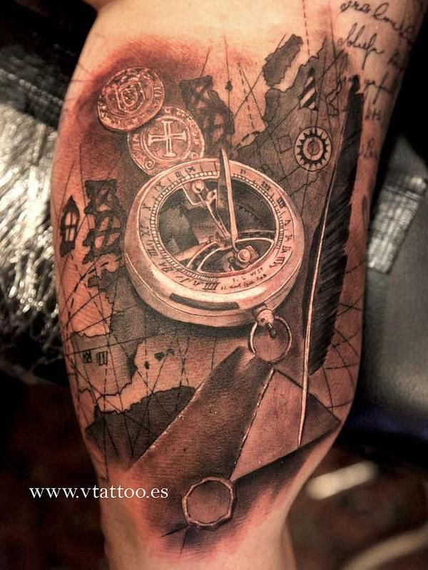 map s and black compass tattoo. Black Bedroom Furniture Sets. Home Design Ideas