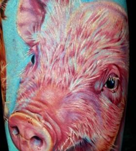 Pink cute pig tattoo