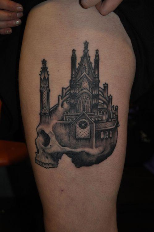 87ec35c9b3bbb Scary skull castle tattoo - TattooMagz