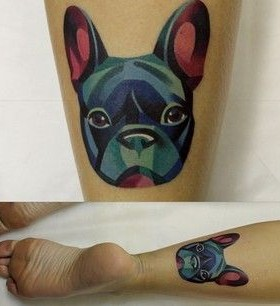 Watercolor style dog tattoo