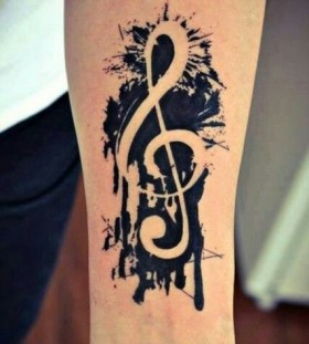 White and black music style tattoo