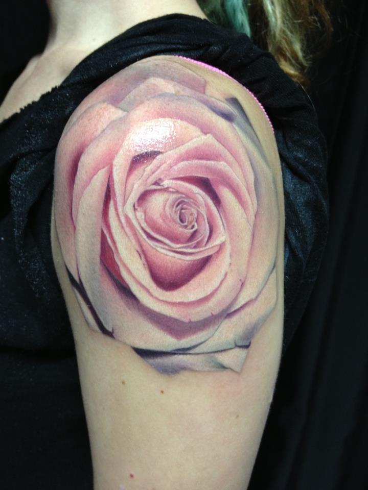 Womens shoulders pink rose tattoojpg