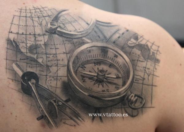 Wonderful black compass tattoo tattoomagz wonderful black compass tattoo gumiabroncs Images