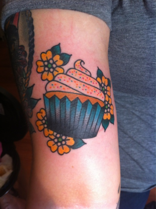 Yellow Flowers And Cake American Traditional Tattoo Tattoomagz