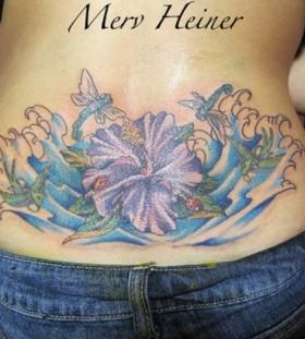 Flower Mery Heiner blue back tattoo