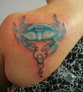 Shoulder's crab blue back tattoo