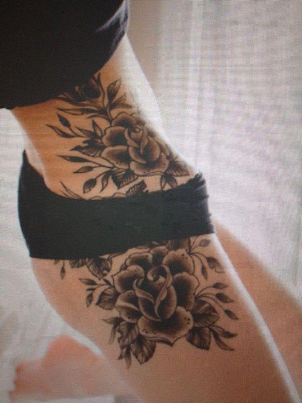 Black Flowers Girl S Hip Tattoo Tattoomagz
