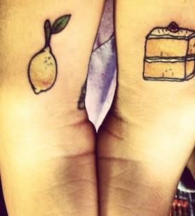 Lemon and lemon cake tattoo