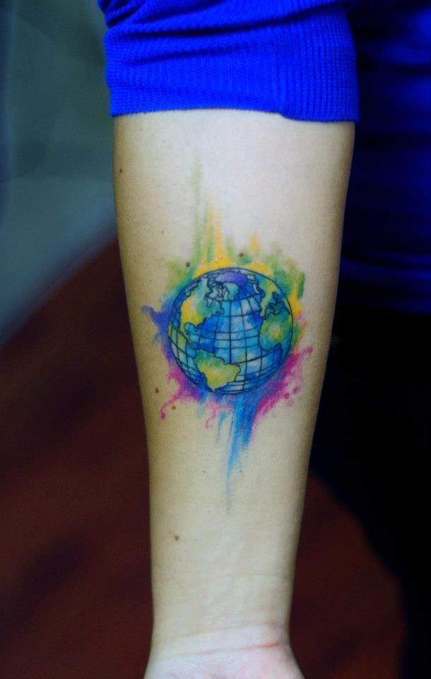 8e21af58f Watercolor earth tattoo - TattooMagz