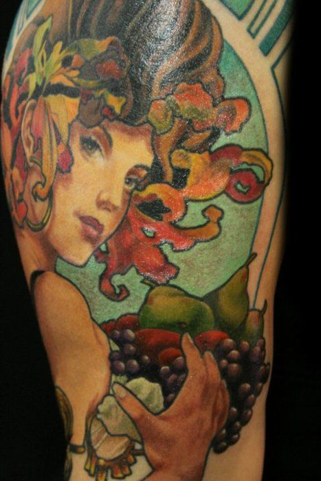 Art Nouveau Tattoo Nouveau: Girl's Face And Fruit And Vegetable Tattoo