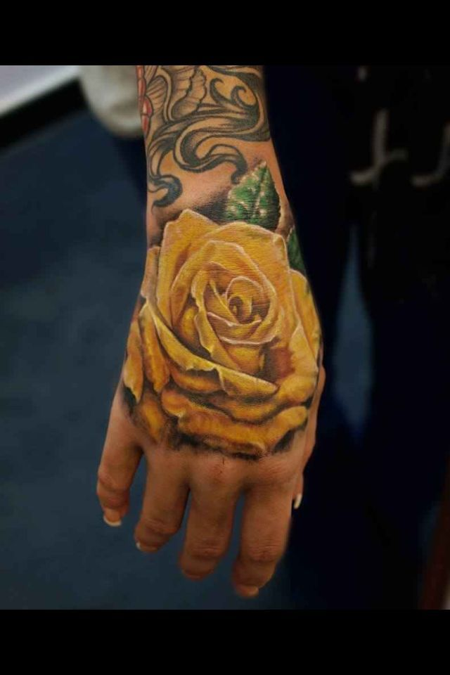 Amazing arm\'s yellow rose tatoo - TattooMagz