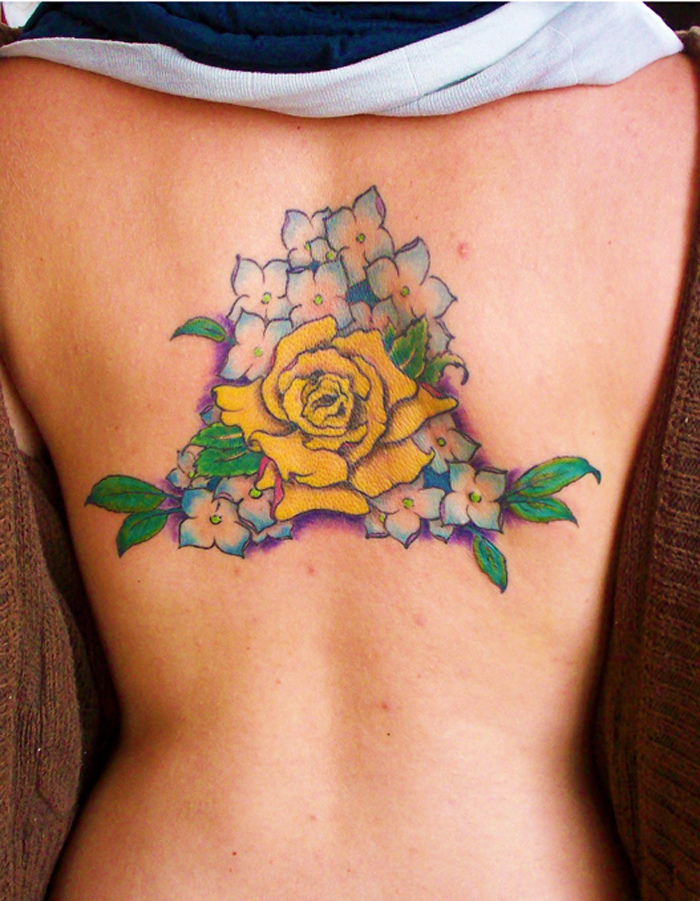 Blue and white flowers yellow rose tattoo tattoomagz for Yellow rose tattoo