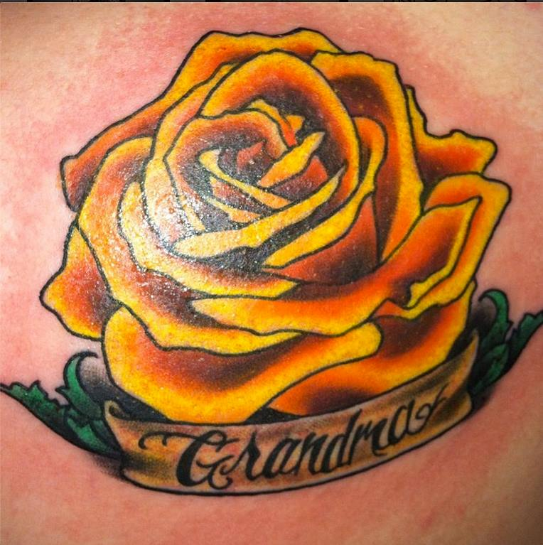 Simple quote and yellow rose tattoo - TattooMagz