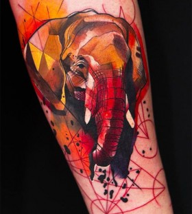 Red adorable elephant geometric tattoo