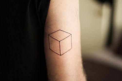 simple and elegant cube tattoo. Black Bedroom Furniture Sets. Home Design Ideas