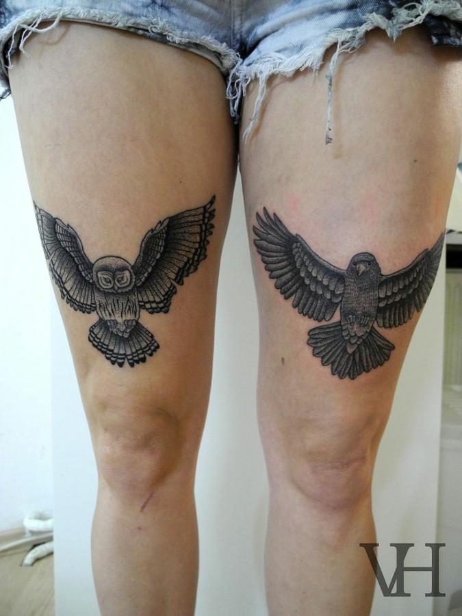 Owl and bird wing tattoo on leg - TattooMagz