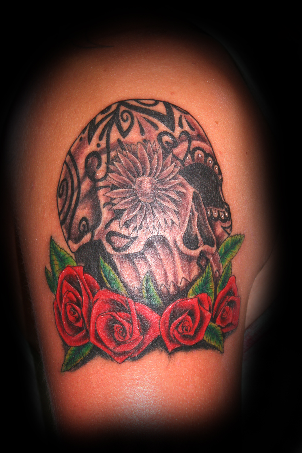 Black And Red Rose Tattoo For Men