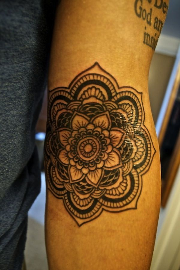 Black Origami Lotus Flower Tattoo