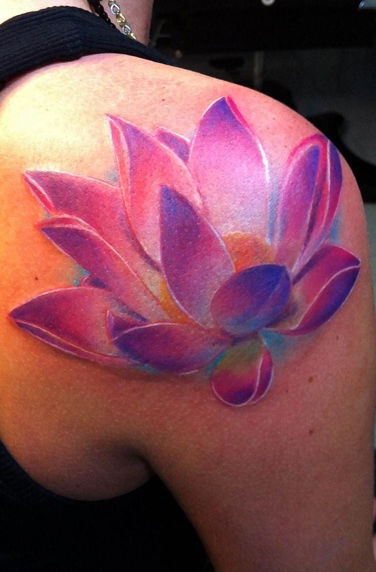 Pink Shoulder Lotus Flower Tattoo Tattoomagz