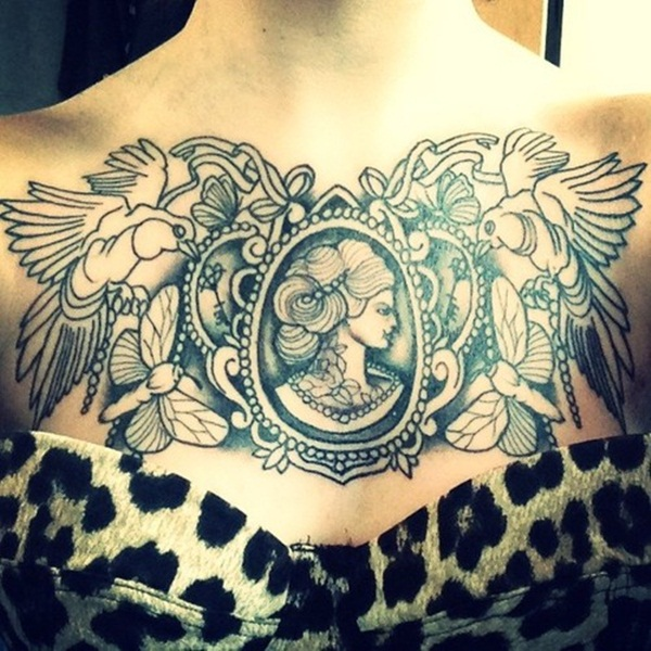 Amazing woman in the mirror chest tattoo