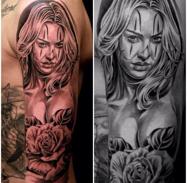 Beautiful Girl Clown With Roses Tattoo Tattoomagz