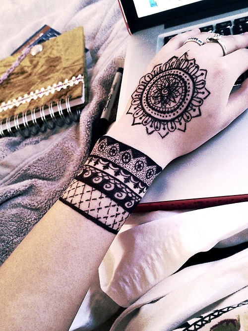 Bohemian style wrist and hand tattoos tattoomagz for Permanent marker tattoo