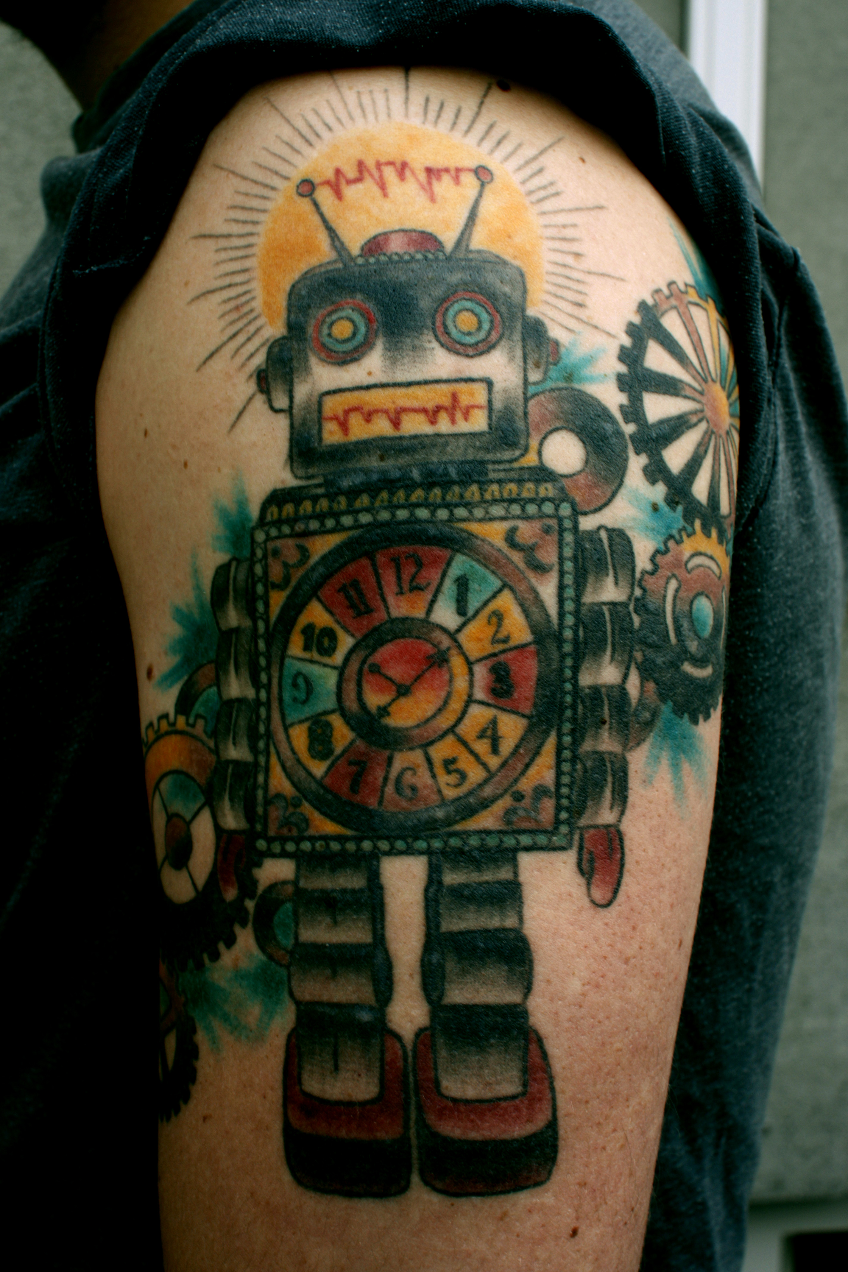 Colourful robot arm tattoojpg