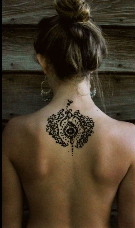 Creative Bohemian Back Tattoo
