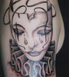 Crying Female Clown Tattoo