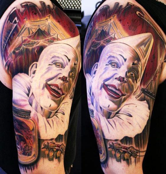 Evil Clown Arm Tattoo
