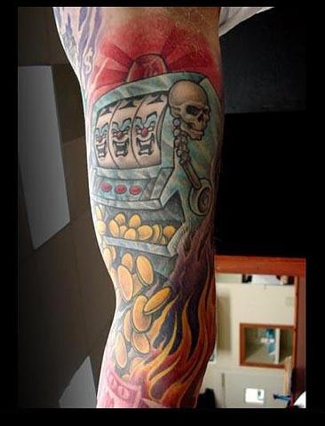 flaming slot machine arm tattoo. Black Bedroom Furniture Sets. Home Design Ideas
