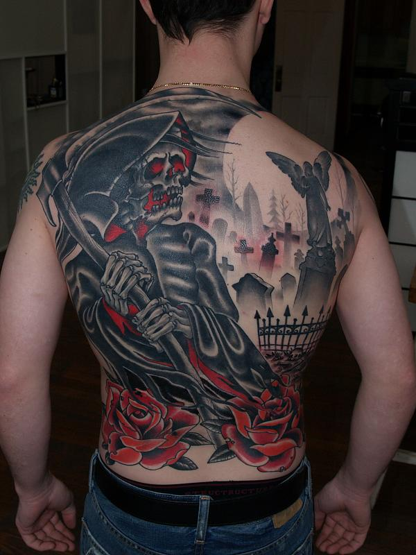 Grim Reaper And Cemetery Back Tattoo Tattoomagz